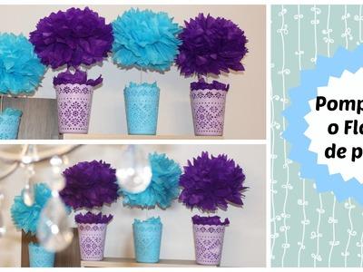 Como hacer flores o pompones de papel- Paper pom poms or flowers DIY - Eliana López