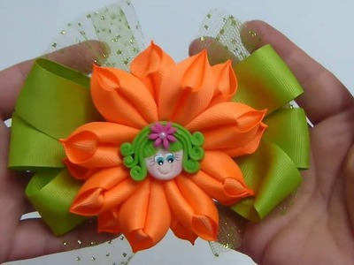 Como Hacer Moños Elegante Flor cono , How to Make a Tulle Hair Bow, Bow Clip