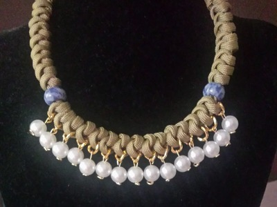 Como hacer un collar de nudo con perlas y cadena. How to make a necklace with beads and chain knot .
