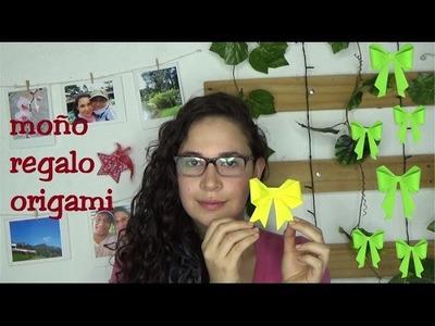 Moño de regalo de papel origami. paper gift bow origami