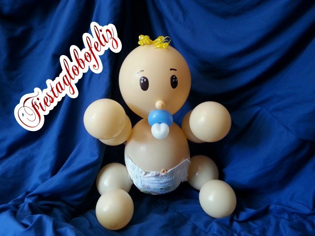 Como hacer un bebé en pañales con globos