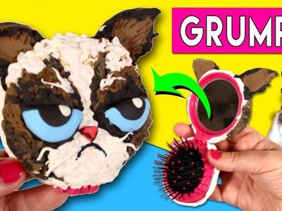 GRUMPY CAT * Espejo de bolsillo decorado GATO GRUÑÓN