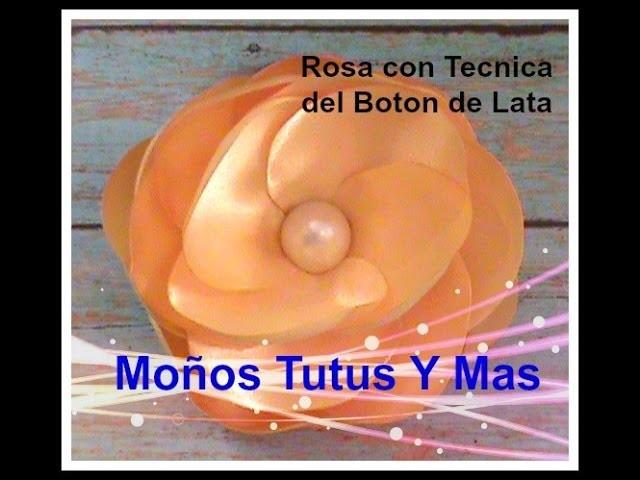 ROSA CON LA TECNICA DEL BOTON DE LATA Paso A Paso ROSE BUD WITH THE BUTTON TECHNIQUE Tutorial