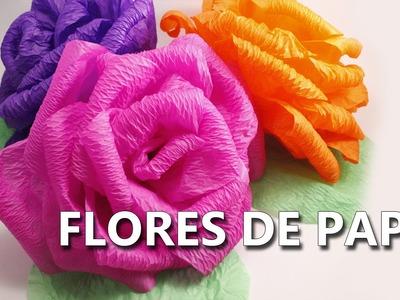 COMO HACER FLORES DE PAPEL CREPE GRANDES | Fáciles y bonitas