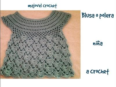Blusa o polera niña a crochet parte 2ª