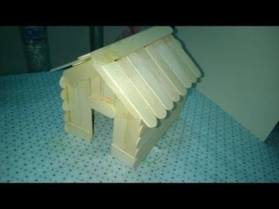 DIY - Cómo hacer una casa usando palitos de helado - Artesanía para el cabrito