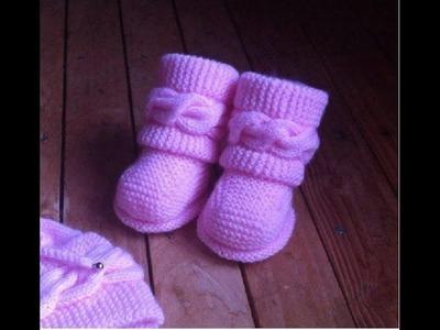 Dos agujas Botitas bebe Uggs parte 2.2 Patucos botas zapatitos bebe tejidos a dos agujas