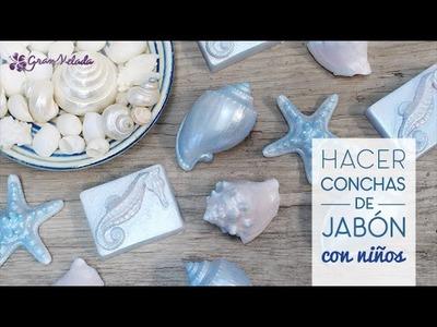 Hacer conchas de jabón de glicerina con niños