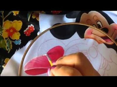 Pintura en tela cojín corazón mickey # 4 con cony