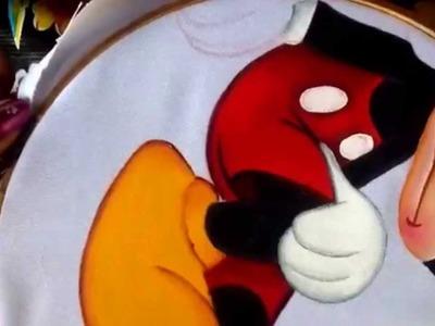 Pintura en tela cojín de corazón mickey # 3 con cony