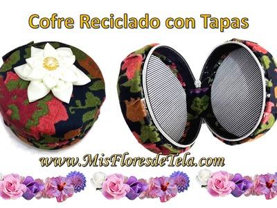 Como Reciclar las Tapas de Plastico - Joyero o Organizador decorado con Flores de Tela Tutorial