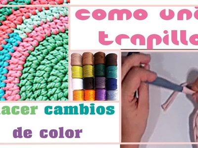 Crochet XL: Como unir trapillo y cambiar color