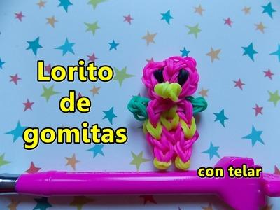 Lorito de gomitas con telar(ligas) Parrot with loom Perroquet avec elástiques