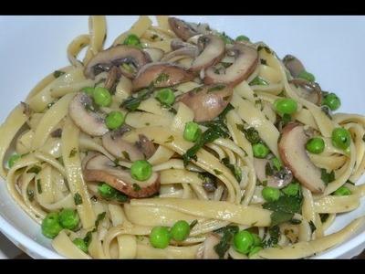 Pasta vegetariana con hongos y albahacas