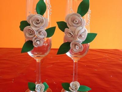 Sencilla decoración para copas de boda Simple decoration for wedding cups