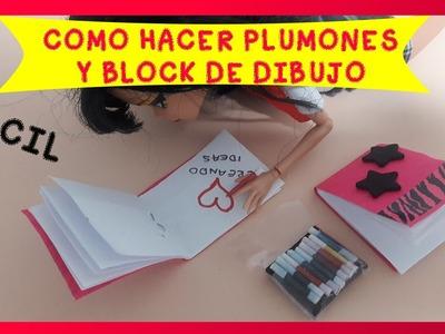 COMO HACER UTILES ESCOLARES PARA MUÑECAS.PLUMONES O MARCADORES Y BLOCK DE DIBUJO