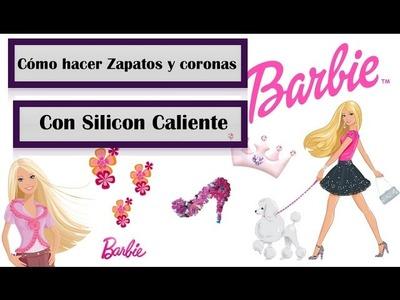 Como hacer zapatos y corona para barbie con silicon caliente