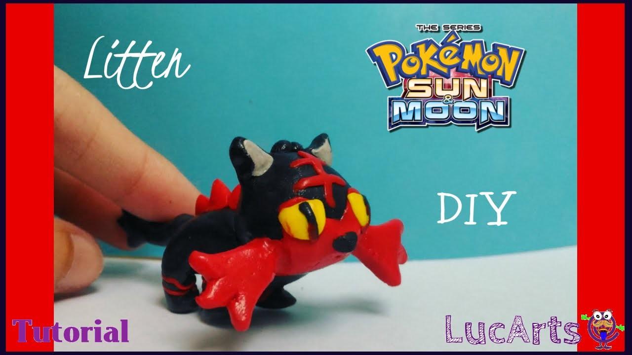 Pokémon Litten Polymer Clay Tutorial. Litten con porcelana fría - plastilina