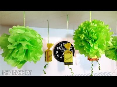POMPONES PARA FIESTAS Y AÑO NUEVO, decoracion de ultimo minuto!!!