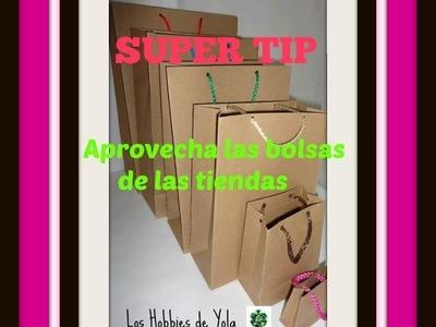 Super tip  Aprovecha bolsas de las tiendas. ( ideal para hacerlo con los niños ) Los Hobbies de Yola