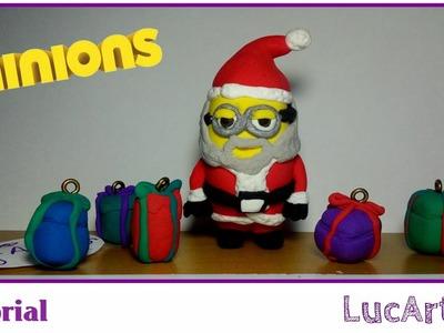 Tutorial Minion Papá Noel con plastilina-porcelana fría.Santa Claus Minion  Polymer clay Tutorial