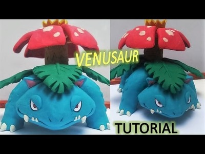 Como hacer a VENUSAUR de plastilina. how to make POKEMON VENUSAUR in clay tutorial