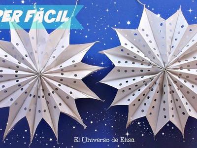 Decoración Super Fácil, Estrellas Gigantes de Papel, Decoración para Navidad