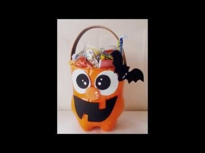 DIY: dulcero de calabaza para halloween - botella - foamy