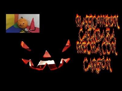 Calabaza hecha con Cartón para Halloween, manualidad PRECIOSA