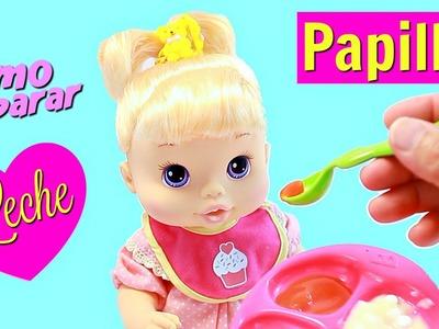 Cómo preparar PAPILLAS y LECHE falsa para tus MUÑECAS • Comida de Juguete para Baby Alive