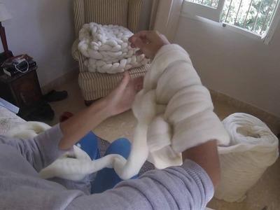 Cómo tejer MANTA XXL de merino Súper Chunky con manos y brazos.