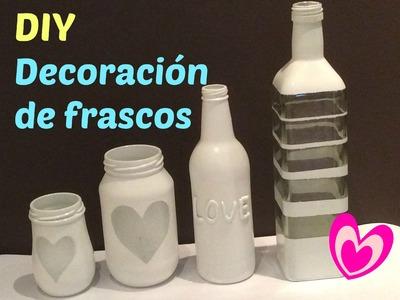 Frascos de vidrio decorados. Frascos decorados. Reciclando frascos