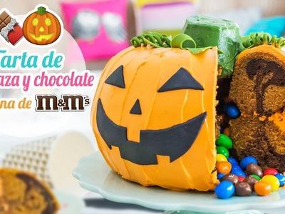 Tarta de calabaza y chocolate rellena de M&M´s | Especial Halloween | Quiero Cupcakes!