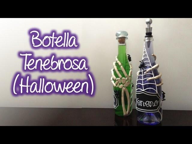 Botella tenebrosa decorada para halloween , dark bottle decorated for halloween