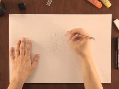 Cómo dibujar una flor de loto : Dibujos de la Naturaleza
