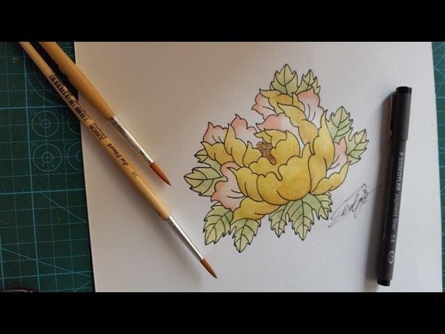Como dibujar una Peonia - DIY Time lapse paiting peony