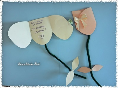 Manualidades. Tarjeta tulipán DIY Día de la Madre