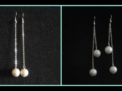 Como hacer pendientes con cadena y perlas PENDIENTES CADEAUX