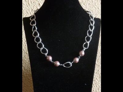 Como hacer un collar con dos cadenas y perlas