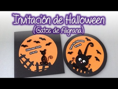 Invitación fiesta de Halloween con gatos de filigrana , Halloween Party Invitation with quilling cat