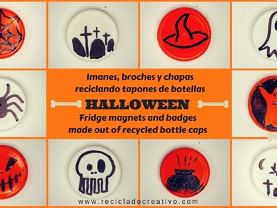 Más de 10 ideas para Halloween con tapones de botellas para hacer imanes y broches