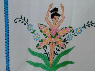 Bordado Fantasia Puntada Para hojas, petalos delgados y tallos.