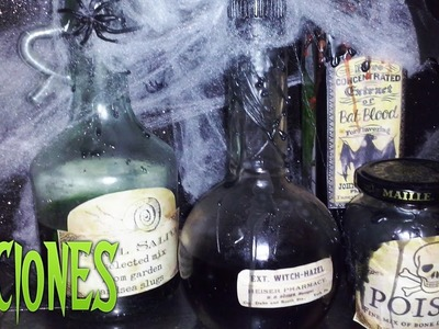 Botellas decoradas y centro de mesa para Halloween