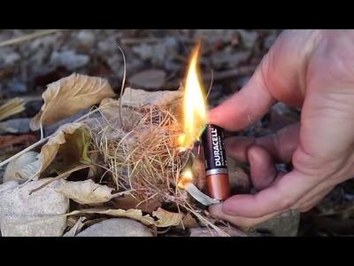 Como hacer fuego con pila y papel de chicle - Adrián de la Cruz
