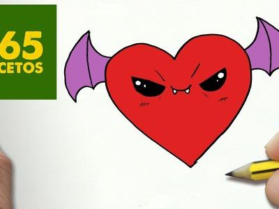 COMO DIBUJAR CORAZON VAMPIRO KAWAII PASO A PASO - Dibujos kawaii faciles - How to draw a heart