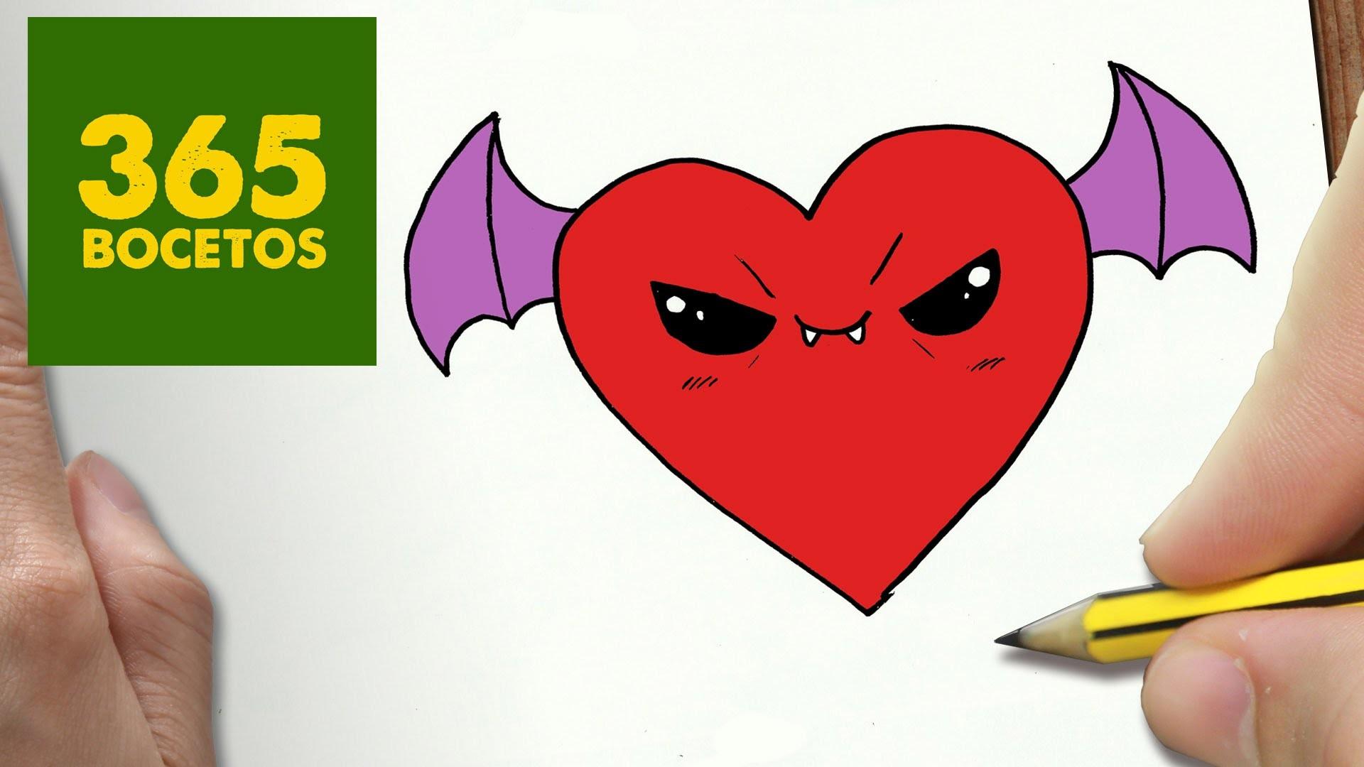 Como Dibujar Corazon Vampiro Kawaii Paso A Paso Dibujos Kawaii