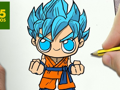 COMO DIBUJAR GOKU SSJ DIOS KAWAII PASO A PASO - Dibujos kawaii faciles - How to draw a GOKU