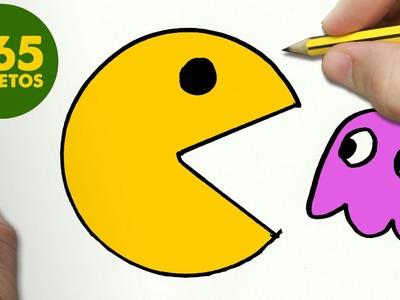 COMO DIBUJAR UN PAC-MAN KAWAII PASO A PASO - Dibujos kawaii faciles - How to draw a PAC-MAN