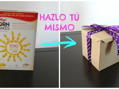COMO HACER UNA CAJA DE CARTON DE REGALO CON CAJA DE CEREAL (FÁCIL)