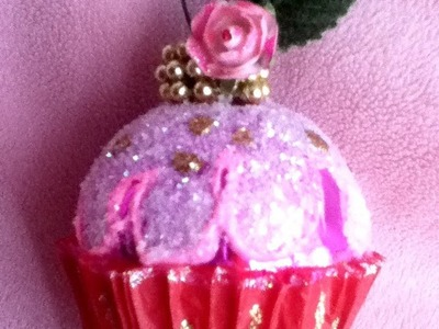 Panquesito Cupcakes  de esfera y diamantina decoración Árbol de Navidad Christmas Ball cute ORNAMENT